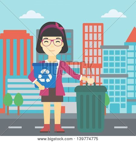 An asian young woman carrying recycling bin. Woman with recycling bin standing near a trash can on a city background. Vector flat design illustration. Square layout.