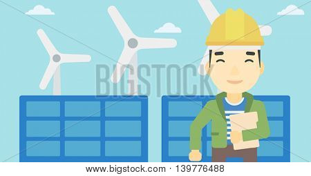 An asian worker of solar power plant and wind farm. Man with folder on background of solar panel and wind turbine. Green energy concept. Vector flat design illustration. Horizontal layout.