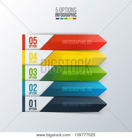 Vector arrows for infographic. Template for diagram, graph, presentation and chart. Business concept with 5 options, parts, steps or processes. Abstract background.