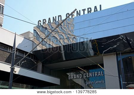 BIRMINGHAM, UNITED KINGDOM - JUNE 6, 2016 - John Lewis Entrance to Grand Central Shopping Birmingham England UK Western Europe, June 6, 2016.