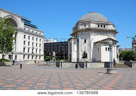 BIRMINGHAM, UNITED KINGDOM - JUNE 6, 2016 - View of the Hall of Memory with Baskerville House to the left hand side in Centenary Square Birmingham England UK Western Europe, June 6, 2016.