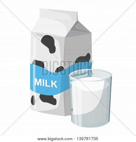 a carton of milk and the milk in a glass