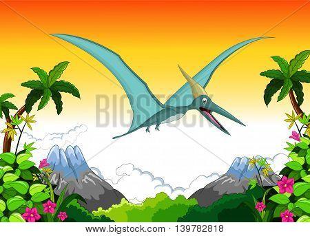 Happy pterodactyl cartoon flying in the jungle, vector