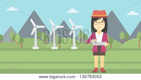 An asian woman holding a laptop hands on a background with solar pannels and wind turbins. Woman working on computer. Vector flat design illustration. Horizontal layout.