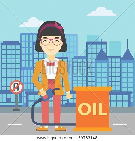 An asian woman standing near oil barrel. Woman holding gas pump nozzle on a city background. Woman with gas pump and oil barrel. Vector flat design illustration. Square layout.