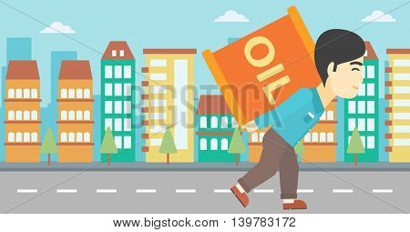 An asian man carrying an oil barrel on his back. Man with oil barrel walking on a city background. Man with oil barrel on his back. Vector flat design illustration. Horizontal layout.