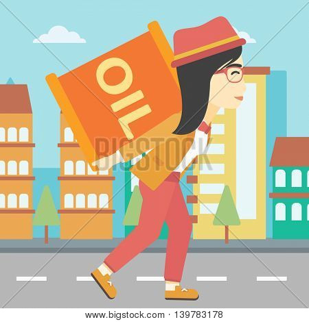 An asian woman carrying an oil barrel on his back. Woman with oil barrel walking on a city background. Woman with oil barrel on his back. Vector flat design illustration. Square layout.