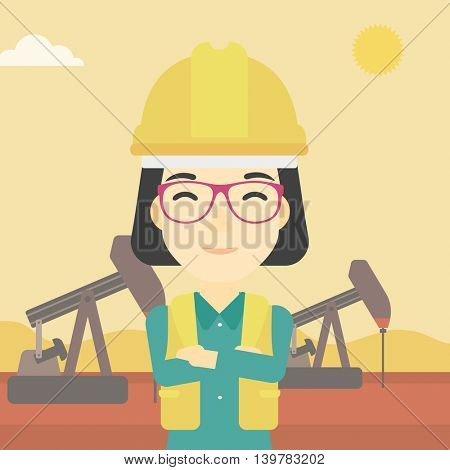 An asian female oil worker in uniform and helmet. An oil worker with crossed arms. An oil worker standing on a background of pump jack. Vector flat design illustration. Square layout.