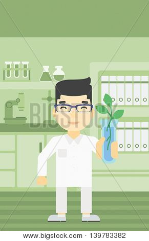 An asian scientist holding test tube with young plant. Scientist analyzing plant in test tube. Scientist holding test tube with sprout. Vector flat design illustration. Vertical layout.