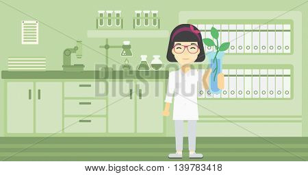 An asian female scientist holding test tube with young plant. Scientist analyzing plant in test tube. Scientist holding test tube with sprout. Vector flat design illustration. Horizontal layout.