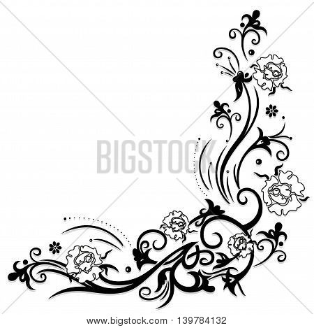 Filigree tendril with black and white roses with leaves.