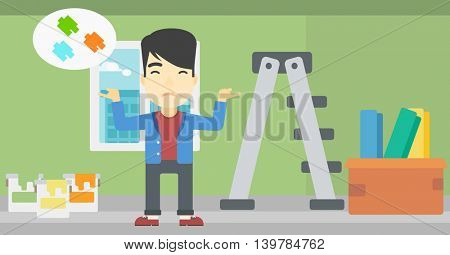 A doubtful asian man choosing color for walls in apartment. Man with spread arms choosing a color of paint. Vector flat design illustration. Horizontal layout.