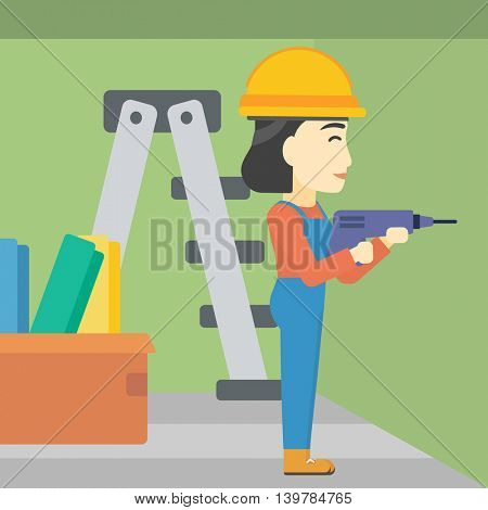 An asian female worker drilling a hole in the wall. A man in overalls and hard hat working with hammer drill. Vector flat design illustration. Square layout.
