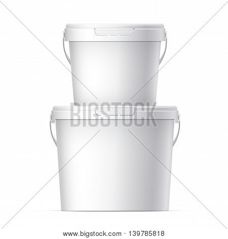 Cool Realistic White Plastic Bucket. Vector