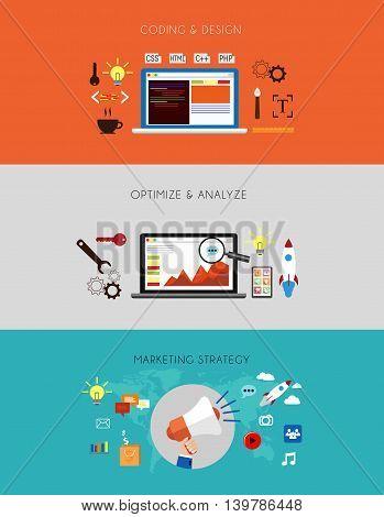 web development flow. Banner for start up Design Flat Concept