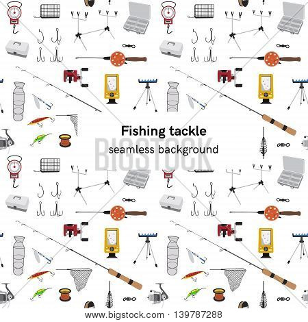 Fishing tackle seamless vector pattern Fishing rod, bait, lure and other gear and supplies Flat style vector background