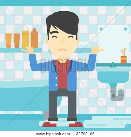An asian man with spread arms standing near leaking sink in the bathroom vector flat design illustration. Square layout.