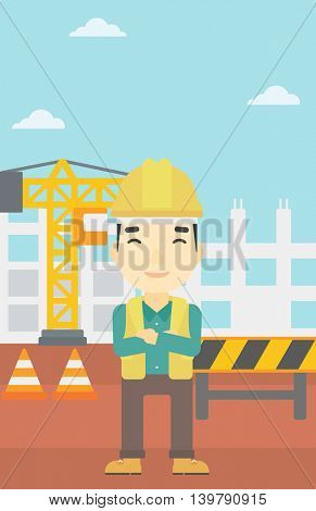 An asian builder with arms crossed. Confident builder on a background of construction site. Builder in helmet on background of road works. Vector flat design illustration. Vertical layout.