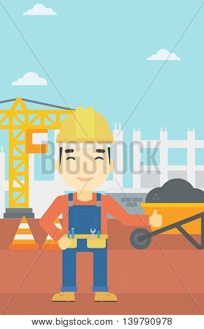 An asian builder in helmet giving thumb up. A builder with thumb up on a construction site. A man giving thumb up on a background of road works. Vector flat design illustration. Vertical layout.
