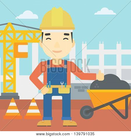 An asian builder in helmet giving thumb up. A builder with thumb up on a construction site. A man giving thumb up on a background of road works. Vector flat design illustration. Square layout.
