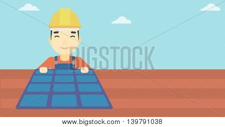 An asian man installing solar panels on roof. Technician in inuform and hard hat checking solar panels on roof. Vector flat design illustration. Horizontal layout.