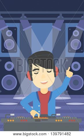 An asian young DJ mixing music on turntables on the stage of nightclub. DJ playing and mixing music on deck with vinyl record. Vector flat design illustration. Vertical layout.