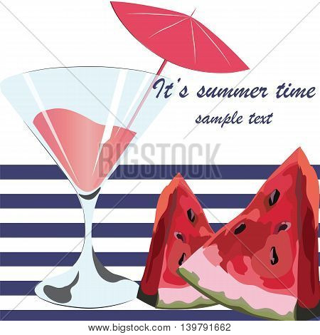 Watermelon and Cocktail Juice Glass Summer Time card with Juicy Watermelon fruit in watercolor technique Vector