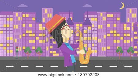 An asian musician playing on saxophone. Woman playing on saxophone in the night. Young woman with saxophone in the city street. Vector flat design illustration. Horizontal layout.