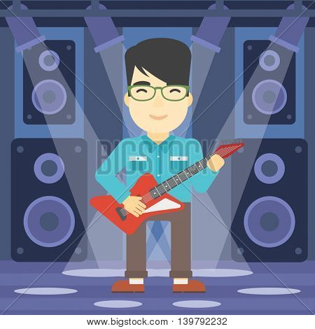 An asian young musician playing electric guitar on the stage of nightclub. Man practicing in playing guitar. Guitarist playing music. Vector flat design illustration. Square layout.