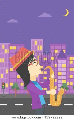An asian musician playing on saxophone. Woman playing on saxophone in the night. Young woman with saxophone in the city street. Vector flat design illustration. Vertical layout.