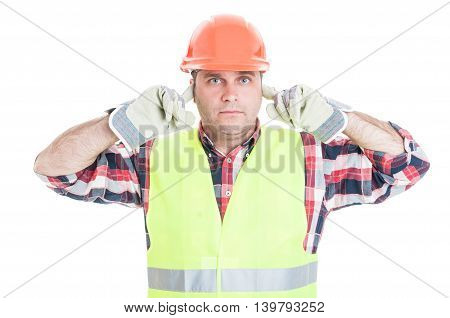 Hear No Evil Concept With Attractive Male Builder
