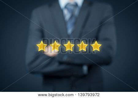 Review increase rating or ranking evaluation and classification concept. Businessman think how to increase rating of his company.