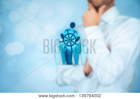 Decision making (managerial concept) - select the best business way (opportunity strategy management) symbolized by captain with helm.