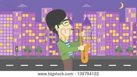 An asian musician playing on saxophone. Man playing on saxophone in the night. Man with saxophone in the city street. Vector flat design illustration. Horizontal layout.