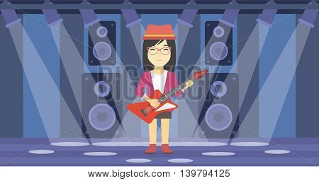 An asian young musician playing electric guitar on the stage of nightclub. Woman practicing in playing guitar. Guitarist playing music. Vector flat design illustration. Horizontal layout.