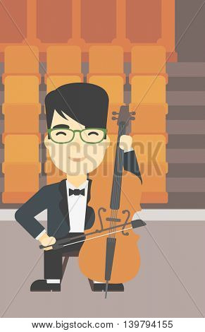 An asian young man playing cello. Cellist playing classical music on cello. Young man with cello and bow on the background of empty theater seats. Vector flat design illustration. Vertical layout.