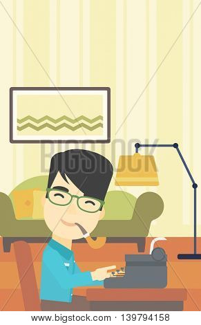 An asian journalist writing an article on a vintage typewriter on the background of living room. Journalist at work smoking pipe. Vector flat design illustration. Vertical layout.