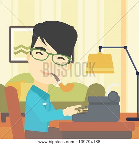 An asian journalist writing an article on a vintage typewriter on the background of living room. Journalist at work smoking pipe. Vector flat design illustration. Square layout.