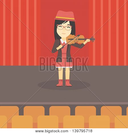 An asian young woman playing violin. Violinist playing classical music on violin. Woman with violin standing on the stage. Vector flat design illustration. Square layout.