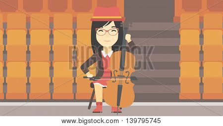 An asian young woman playing cello. Cellist playing music on cello. Young woman with cello and bow on the background of empty theater seats. Vector flat design illustration. Horizontal layout.