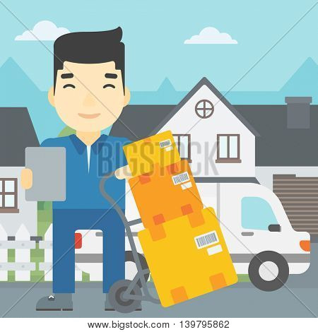 An asian delivery man with cardboard boxes on troley. Delivery man with clipboard. Man standing in front of delivery van. Vector flat design illustration. Square layout.