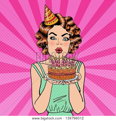 Pretty Happy Girl Blowing Candles on Birthday Cake. Pop Art. Vector illustration