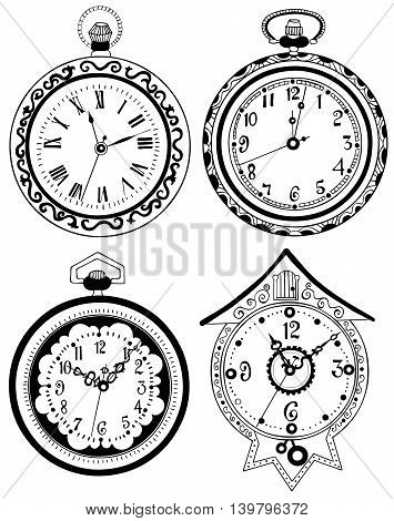 Black and white set of pocket watch, vintage drawing