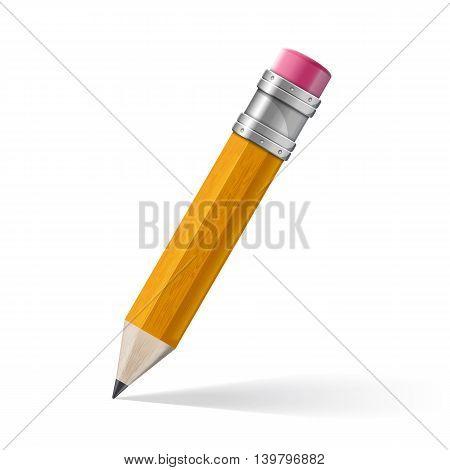 Realistic yellow pencil icon. Vector illustration. pencil wih eraser