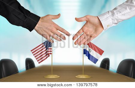 United States and Paraguay diplomats shaking hands to agree deal, part 3D rendering