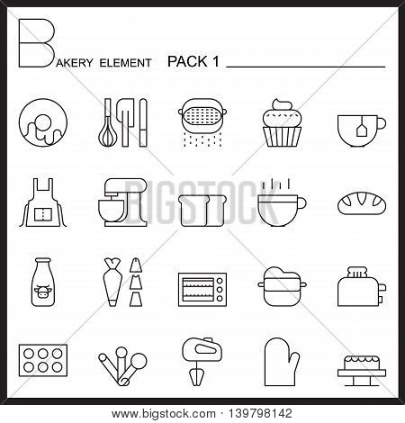 Bakery line icons set.Mono icons pack 1.Pictagram outline.