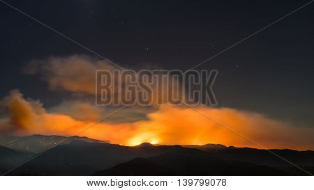Sand Fire Smoke Over Mountains