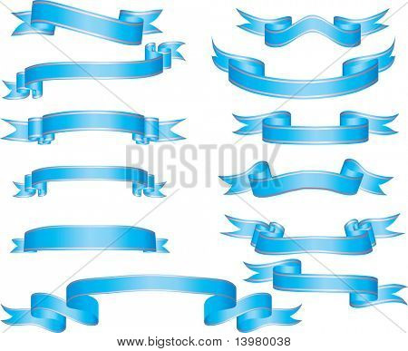 set of vector ribbons with stripes and gradients