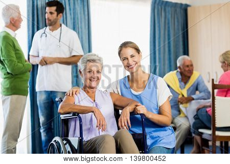 Nurses taking care of seniors in a retirement home