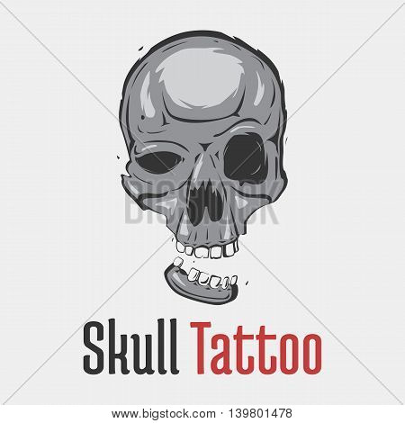Grim skull tattoo with separated smiling jaw. Spooky and dangerous, dreadful and terrifying head of skeleton for emblem or mascot. Concept of fear and hazard, evil